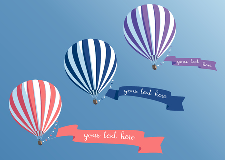 Hot air balloons collection with banners flying in the blue sky bottom view, striped hot air  balloons with ribbons vector illustration Illustration