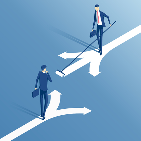 confused businessman standing at a crossroads and chooses the direction and savvy businessman who painted his own way, an employee with a roller draws its own direction, business concept creative and choice Illustration