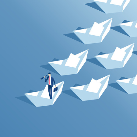 Isometric businessman with telescope floats on a paper boat and leads a group of other paper boats.