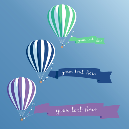 Hot air balloons set with banners.