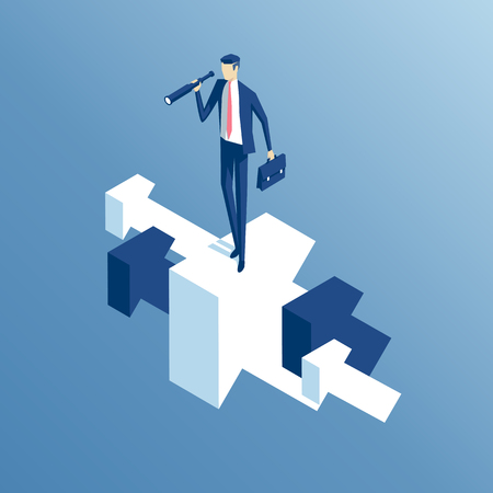 Businessman standing on arrow flying up and looking through a telescope isometric illustration. Illustration