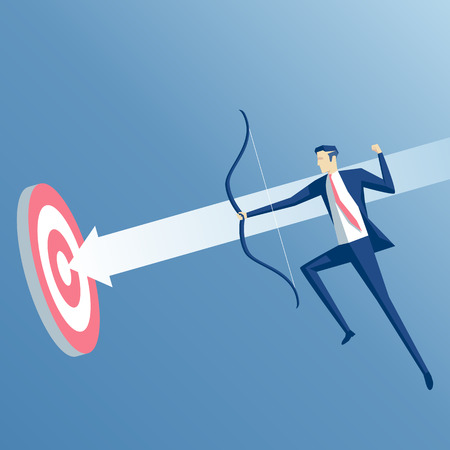 Businessman in jump shoots an arrow at a target. Business concept the purpose and success
