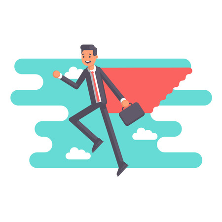Super employee in a red cape with suitcase flying on the  blue sky background and clouds. Smiling businessman superhero flies up. Vector flat illustration. Business concept power and skill Illustration