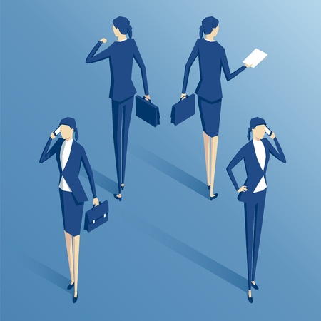 isometric  businesswoman standing with the phone,with  a briefcase, with documents, and with a wristwatch, isometric business people set Illustration