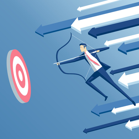 Businessman archer in jump shoots  at a target with arrow on background. Business concept the goal and success Illusztráció