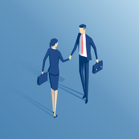 Businessman and businesswoman shake hands isometric illustration, business concept agreement and partnership