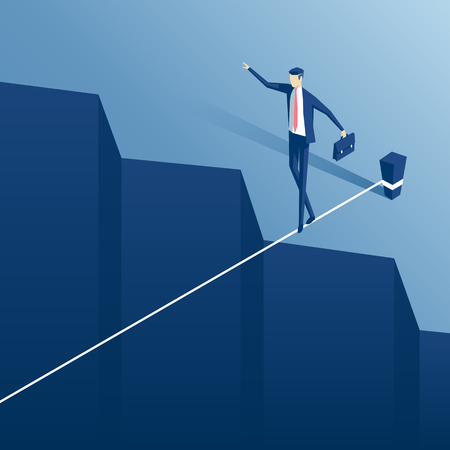Isometric businessman tightrope walker is on the rope over the cliff. Clerk tightrope walker teetering on the cable over the abyss.Business concept obstacle and the risk. Illusztráció