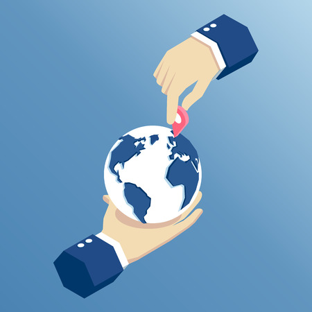 One hand holds the planet Earth and the second sets the marker on its surface an isometric illustration. Business concept navigation