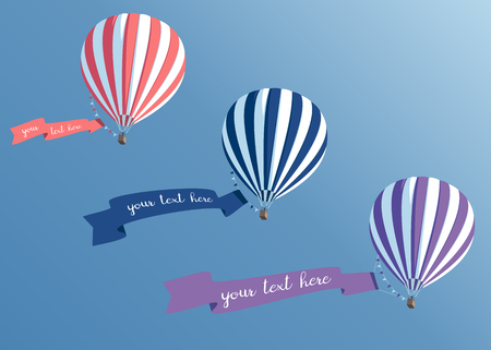 Hot air balloons set with banners flying in the sky bottom view, colorful hot air  balloons collection with ribbons vector illustration