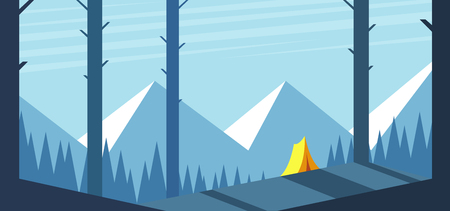 Forest landscape with mountains and a yellow tent on the hill. Summer camp vector illustration. Camping and hiking Illusztráció