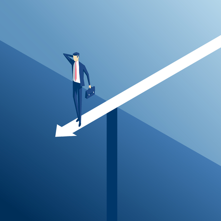 Isometric businessman standing on an arrow over the abyss, business concept stalemate and embarrassing situation Illusztráció