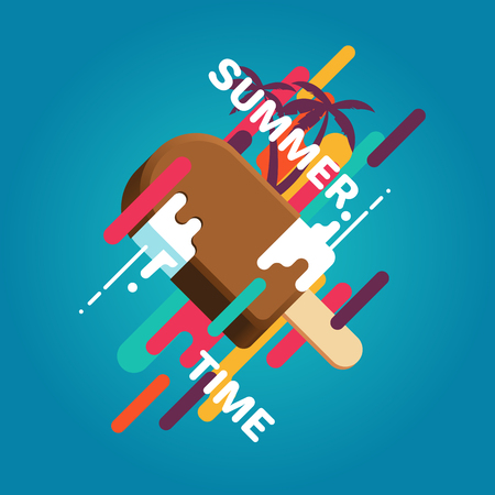 Colorful summer poster with ice cream, palm trees, geometric objects and splashes. Summer vector illustration Illusztráció