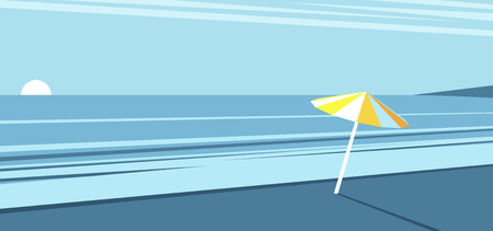 Sea beach with a yellow umbrella on the background of the morning sky, the sunrise on the beach, vector summer illustration