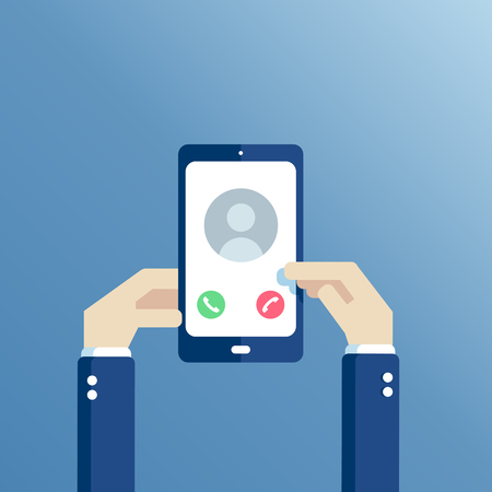 Hands holding mobile phone on the screen which displays the incoming call flat vector illustration