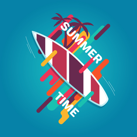 Summer illustration with surfboards, palm trees and the words Summer time surrounded by geometric elements. Flat summer multicolor illustration