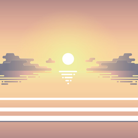 Summer flat illustration of beach at sunset with waves, sun and clouds. Illusztráció