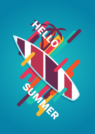 Hello summer colorful poster with surfboard, palm trees and geometric objects.