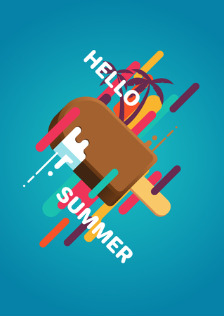 Hello summer colorful poster with ice cream, palm trees, geometric objects and splashes. Summer vector illustration
