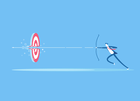 Businessman on the run shoots a bow at a target and destroying it. A man shoots an arrow from a bow right in the center of the target. Business concept the goal and right decision vector illustration Vettoriali