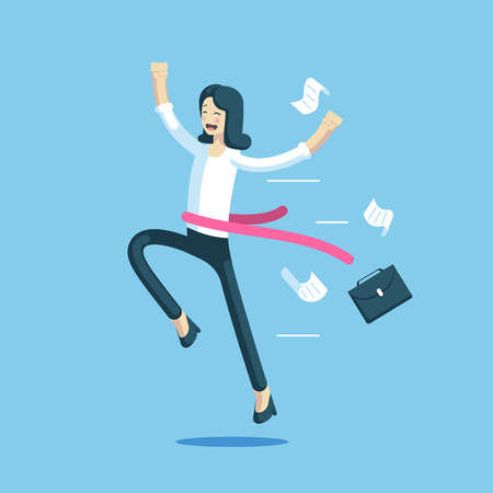Businesswoman crossed the finish line first. Office worker with a red ribbon at the waist rejoice her victory. Business concept success and winner. Vector business character Illusztráció