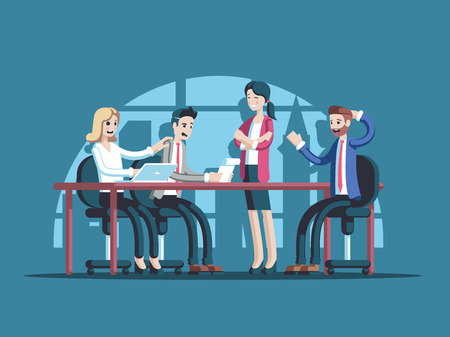 Business meeting or conference. Group of business people sitting at the table and leads the discussion vector flat illustration. Team work and brainstorming. Illusztráció