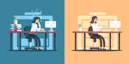 Businesswoman sitting at desk with full energy and low charge. Girl employee in the morning at work, and at the end of the day flat vector illustration. Business concept of workload and energy balance.