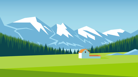 Mountain landscape with pine forest and green meadow on which stands a small house. Alpine meadow vector illustration.