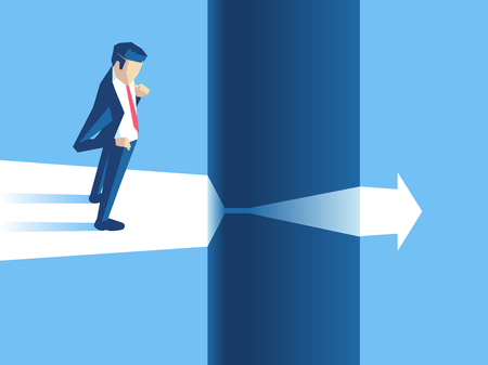 Businessman stands on the edge of gap and arrow passes through it. Employee cant continue to move forward because of obstacles. Business concept challenge, risk or obstacle vector illustration.