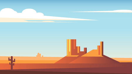 Cartoon desert landscape with cactus, hills and clouds flat vector illustration. Two rocks in the middle of the desert and a blue sky with clouds.