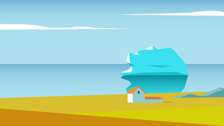Coastal landscape with house in the meadow and the iceberg in the ocean. Polar seaside landscape vector flat illustration. Illustration