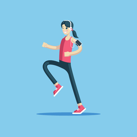 Cheerful girl in sportswear with headphones and a smartphone is jogging flat vector illustration. Young smiling woman is running. Healthy lifestyle and fitness activities concept