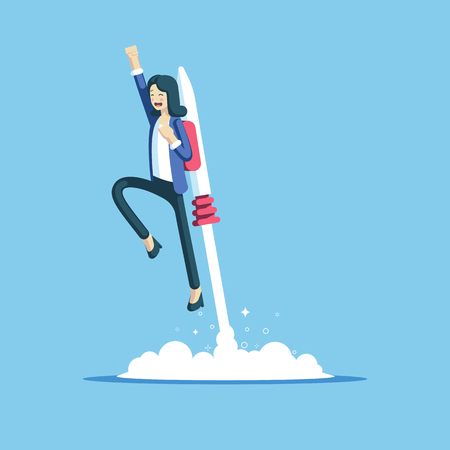 Cheerful businesswoman flying off with jet pack vector flat illustration. Female office worker flying up by rocket and take off the ground. Business concept career boost, start up and growth Illusztráció