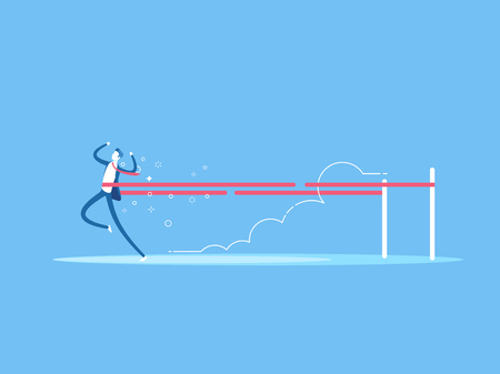 Businessman crossing the finish line first and wins the race. Business concept success, speed and victory vector flat illustration.