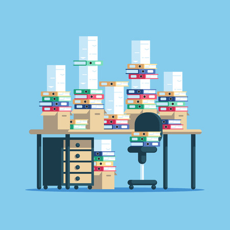 Huge pile of paper documents and boxes with file folders on table and chair. The workplace is cluttered with stacks of paper. Paperwork vector flat illustration.