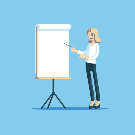 A woman is giving a business presentation cute smiling businesswoman standing near a white presentations board and a pointer in hand, explains something. Vector illustration of flat design style. Illustration