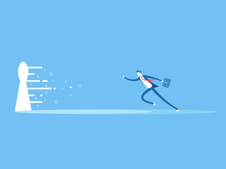Business concept the solution to the problem. Businessman runs to the large keyhole flat vector illustration. The employee runs towards the bright light coming from the keyhole Banco de Imagens - 94417163