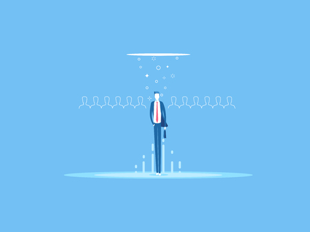 Business concept recruitment or headhunting flat vector illustration. Looking for talent. Businessman standing in spotlight or searchlight as a symbol selection from the many candidates.