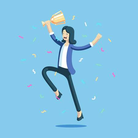 Businesswoman celebrating and jumping with a trophy in her hands. Happy girl celebrating a victory holding the cup and laughs. Business concept achievement vector illustration. Illusztráció