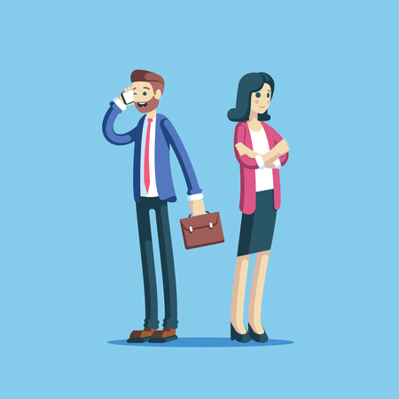 Businesswoman and businessman standing and smiling vector illustration. Man talking on mobile phone and woman standing with arms crossed, business people cute characters. Illusztráció