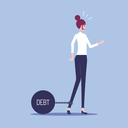 The businesswoman drags a large steel ball on which the debt is written. A woman office worker found herself chained to a heavy steel ball vector flat illustration.
