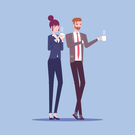 Businessman and businesswoman are holding mugs, drinking coffee or tea and talking to each other vector flat illustration. Two employees have coffee break Illusztráció