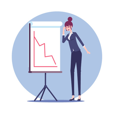 Shocked businesswoman stands next to the presentation board which shows a red negative graph vector flat design. Surprised woman employee and a falling chart. Business concept crisis and recession