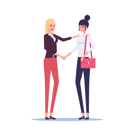 Two businesswoman shaking hands in greeting or cooperation vector flat illustration. Handshake of two women employees in formal wear.