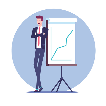 Happy businessman standing near a whiteboard presentation which shows the growing graph flat vector illustration.