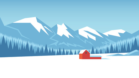 Winter mountain landscape with forest and snow-covered field on which stands the house vector illustration.