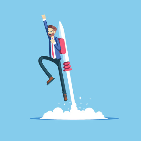 Cheerful businessman flying off with jet pack vector flat illustration. Male office worker flying up by rocket and take off the ground. Business concept career boost, start up and growth.