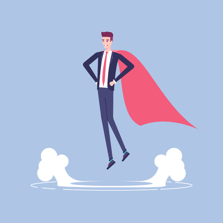Businessman superhero levitating above the ground vector flat illustration. Illustration