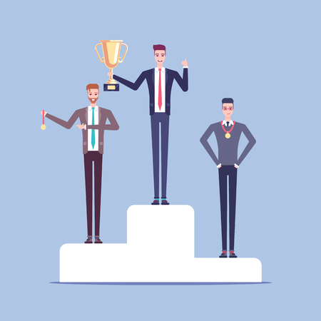 Businessmen winners stand on the pedestal at the awards ceremony vector flat illustration.