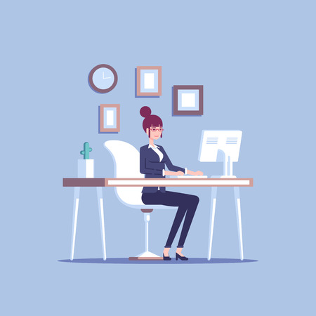 Young pleased businesswoman sitting at the office desk and working flat vector illustration.