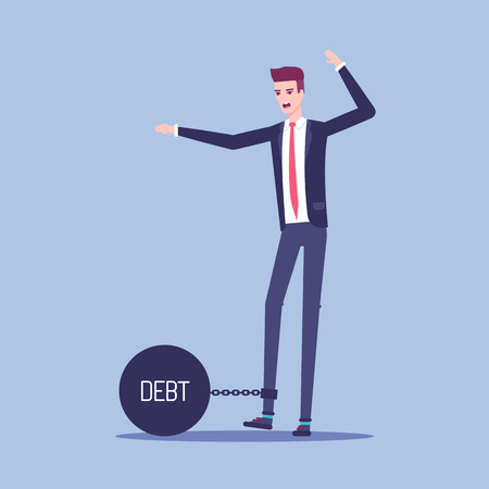 Businessman chained to a heavy metal ball with the inscription debt vector flat illustration. Illusztráció